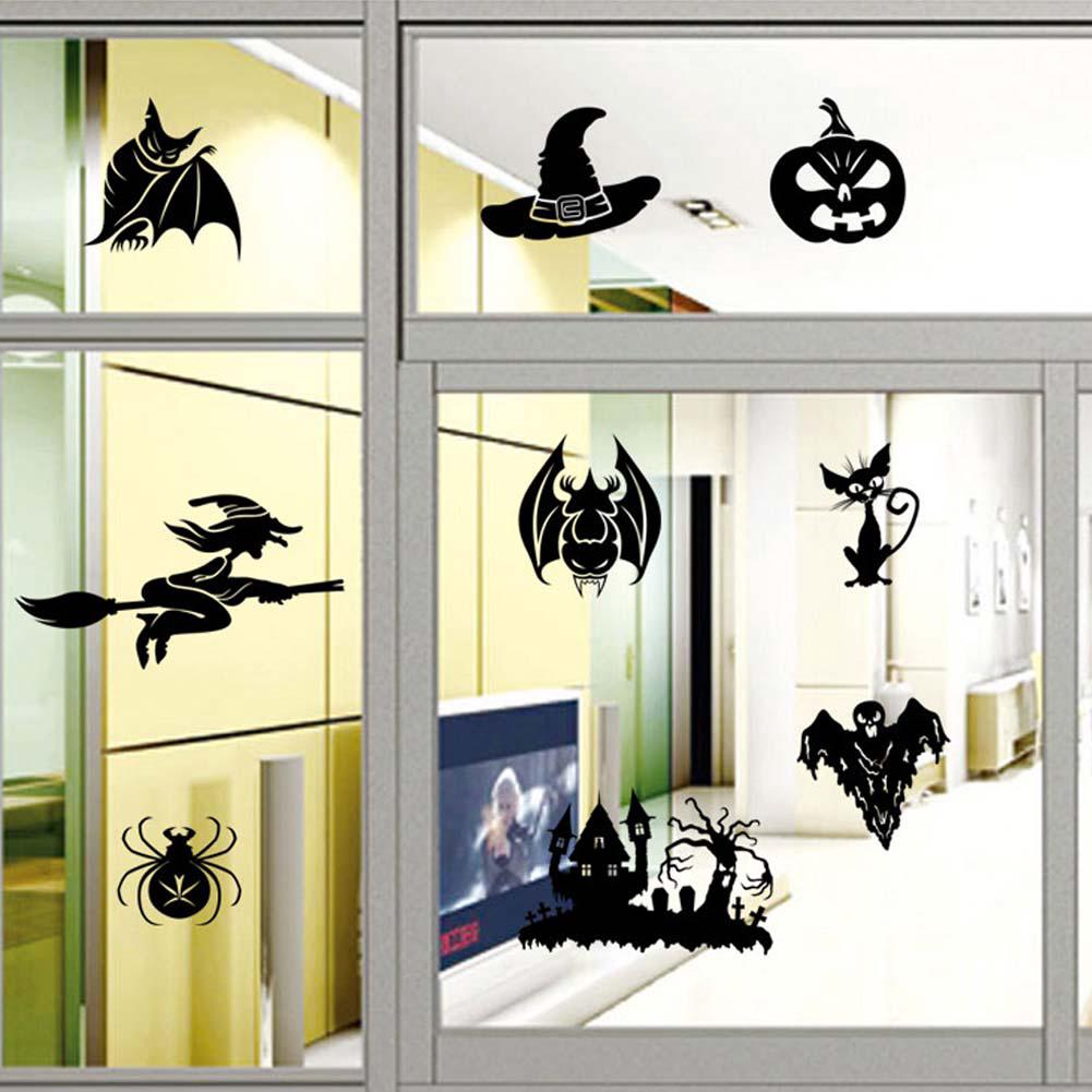Review Halloween Witch Series Glass Window Living Room Decoration Wall Stickers Set