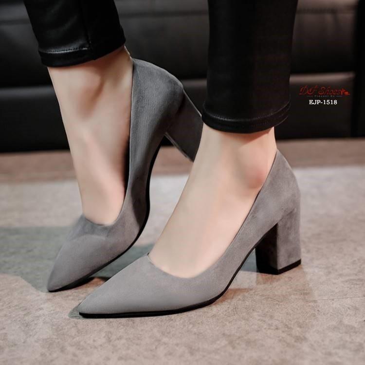 ✨Hot!! รองเท้าคัชชูหัวแหลมส้นสูงผู้หญิง รองเท้าส้นสูงแฟชั่นขายดี รองเท้าคัชชูส้นสูง สีเทา / สีดำ / สีแดง✨!!