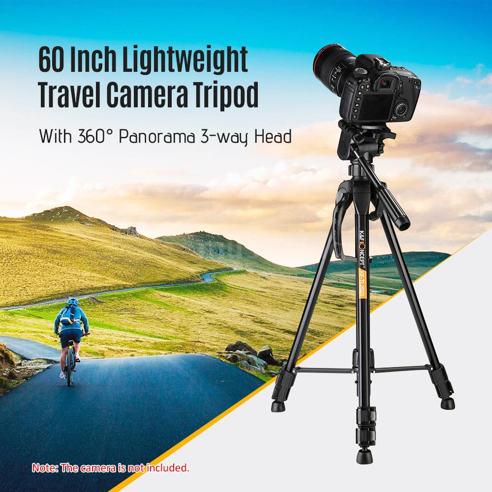 Camera Tripod,K/&F Concept 60//152cm Compact travel tripod lightweight Aluminum with 3-Way Head,3KG Load Capacity,Carry bag for DSLR Canon Nikon Sony-Black