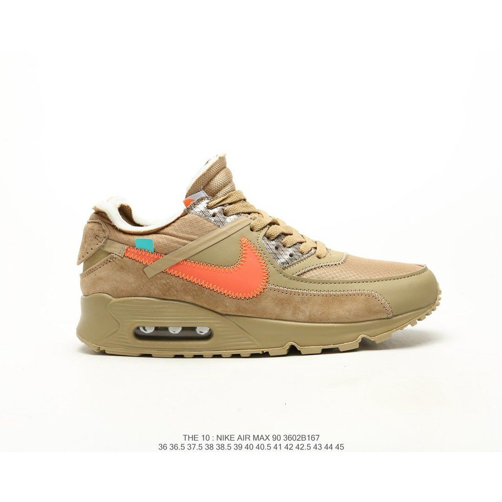 OriginalNike Air Max 90 ow x OFF-WHITE Men's and women's comfortable casual sports shoes fashion all-match running shoes