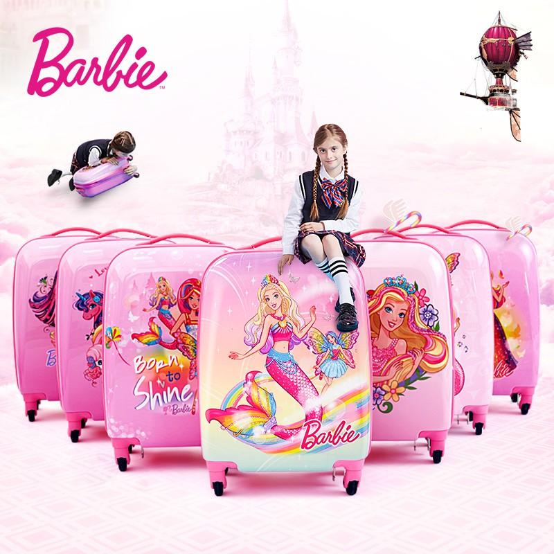 ザゎ กระเป๋ารถเข็นเดินทาง กระเป๋าเดินทางพกพา ตุ๊กตาบาร์บี้เด็กรถเข็นกระเป๋าเดินทางการ์ตูนเจ้าหญิงกระเป๋าเดินทางหญิงกระเป๋า