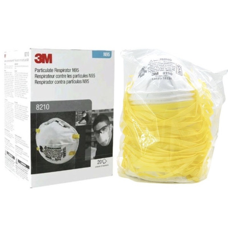 ♗3M 1กล่อง(มี20ชิ้น) 8210 N95 หน้ากากป้องกันฝุ่น PM2.5