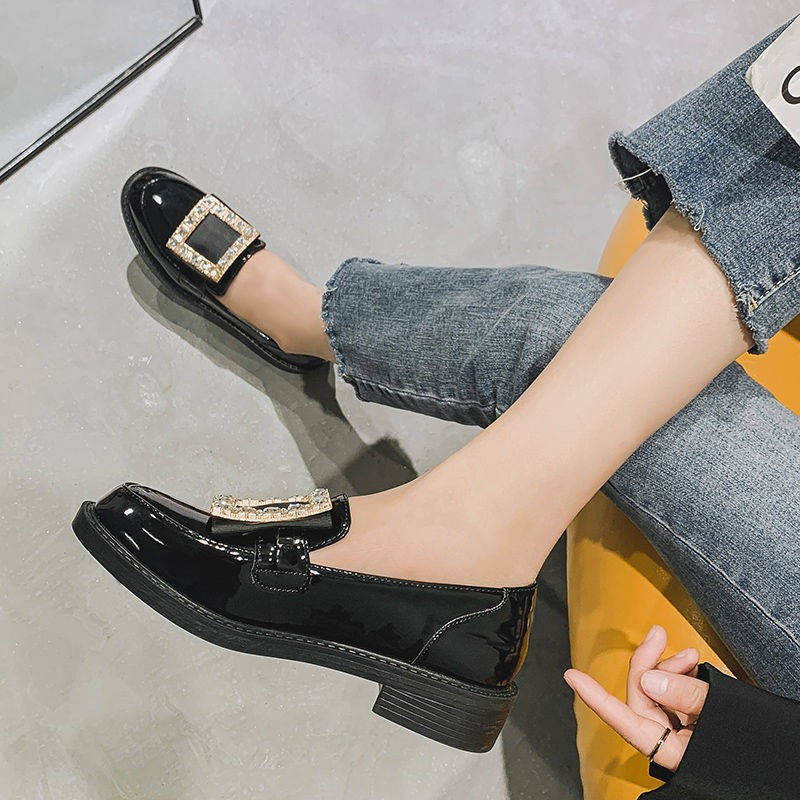 ร้องเท้า รองเท้าคัชชู รองเท้าผู้หญิง ✪รองเท้าหนังขนาดเล็กนักเรียนเด็กเวอร์ชั่นเกาหลีใหม่ของลมอังกฤษย้อนยุคที่อยู่ตรงกลาง