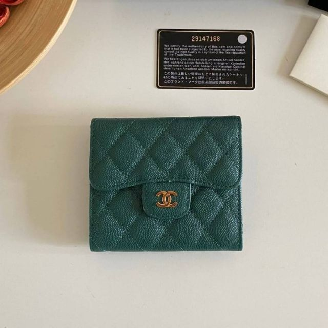 Chanel Classic small wallet cavier skin Original Green