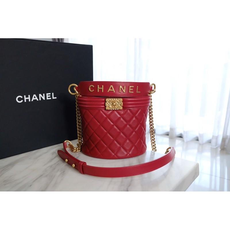 Used like new Chanel boy bucket with handle calfskin holo30