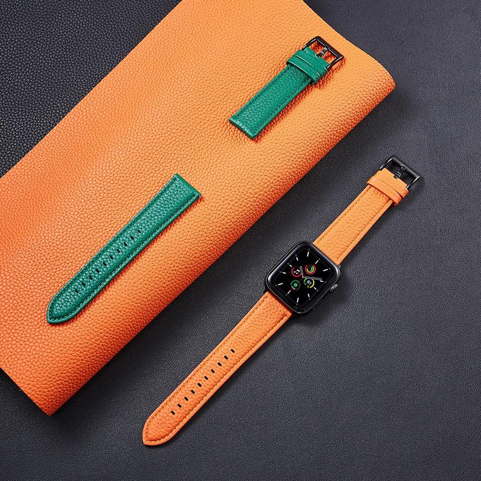 ☯❤Apple Watch สายหนังแท้ปลายแหลมลายลิ้นจี่รุ่นที่5 applewatch See/6/5/4/3/2 Series 38/42 MM4อุปกรณ์เสริมสาย0/44แฟชั่นยอด