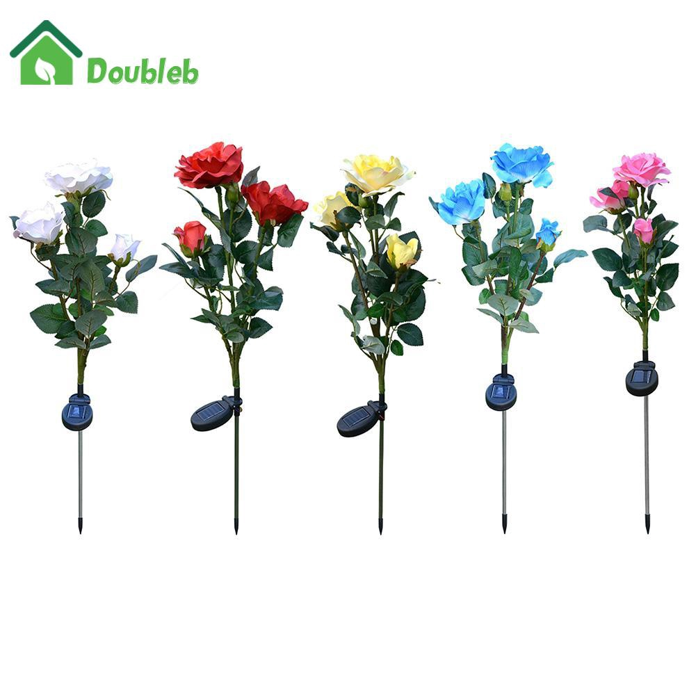 3LED Solar Simulation Rose Flower Light Waterproof Garden Landscape Lamp
