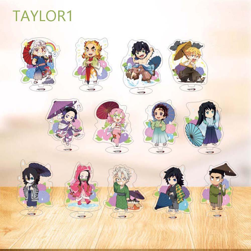 TAYLOR1 Cartoon Demon Slayer Anime Figure Model Plate Desktop Decoration Agatsuma Zenitsu Collectible Toy Kamado Tanjirou Cute Model Toy Acrylic Stand Desktop Standing Card