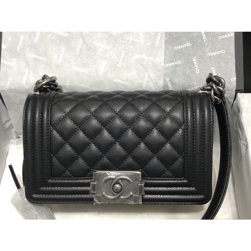 "New Chanel boy 8"" black caviar"