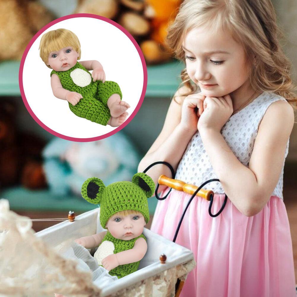 "11/"" Reborn Newborn Mini Baby Doll Full Silicone Vinyl Rabbit Clothes Bath Girl"