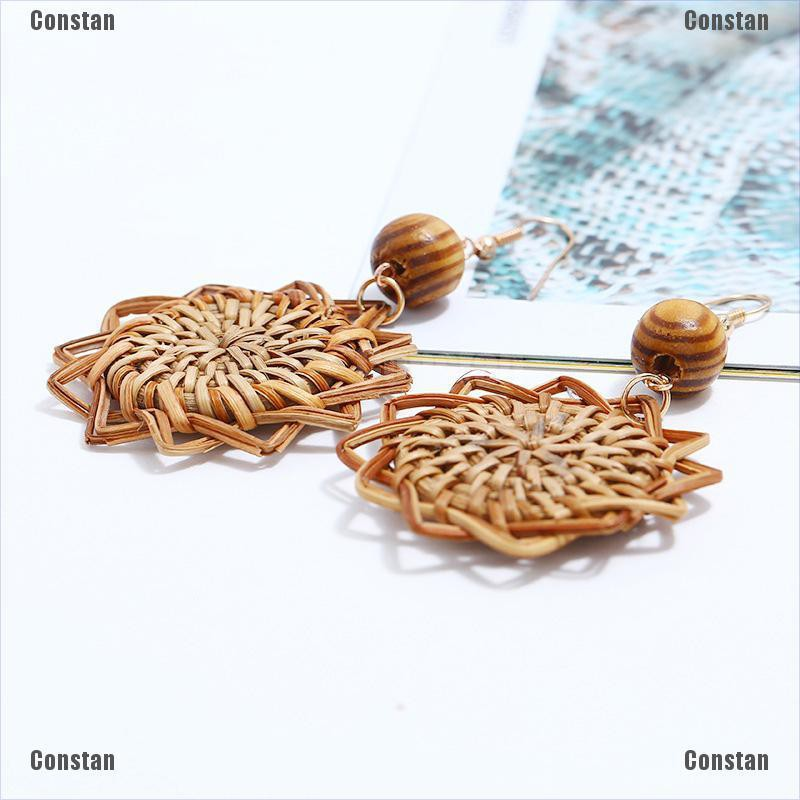 Handmade Wood Bamboo Rattan Geometric Pendant Ear Stud Earrings Women Jewelry.