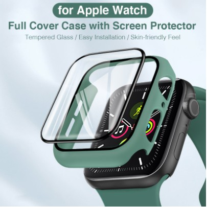 2 In 1 for Apple Watch 40mm 38mm 42mm 44mm Case with Tempered Glass Screen Protector Matte Hard Cover for iWatch Series SE 6/5/4/3/2/1