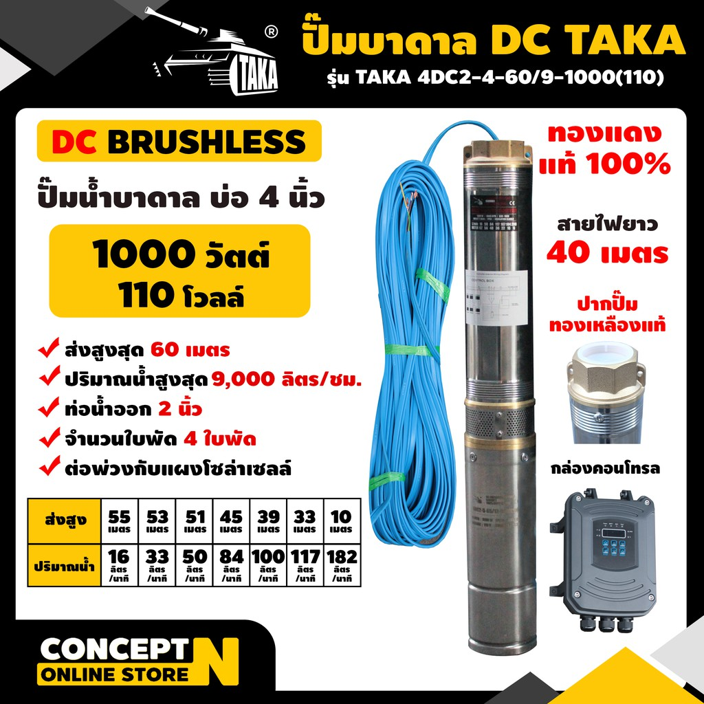 ปั๊มบาดาล DC รุ่น TAKA 4DC2-4-60/9-1000(110) 1000 วัตต์ รูท่อ 2 นิ้ว มีกล่องคอนโทรล (ไม่รวมแผง) สำหรับลงบ่อ 4 นิ้ว