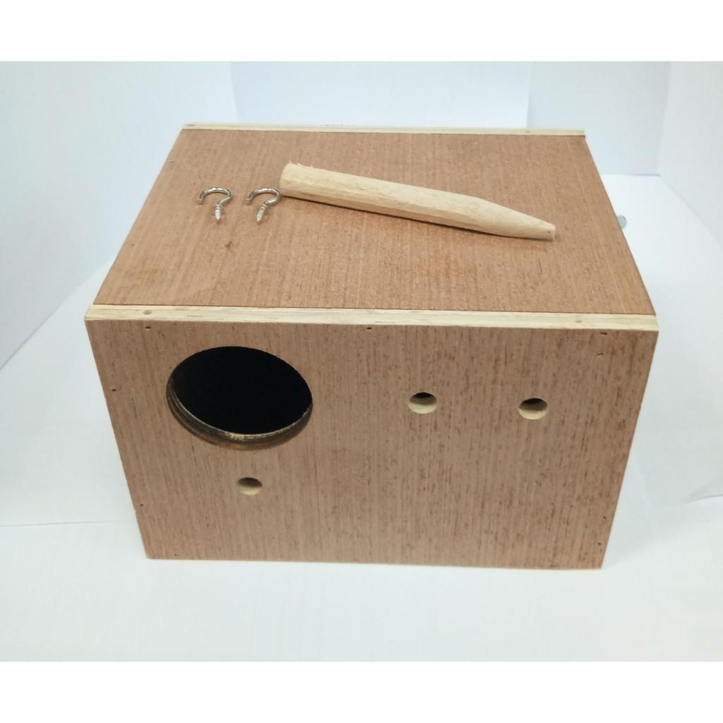 ✁☇▲นกหงษ์หยก ชูก้า กระรอก กล่องนอน กล่องเพาะ รังนกหงส์หยก บ้านไม้นก (จำนวน 1 ใบ ) กล่องไม้นก บ้านนกหงส์หยก กว้าง 14 ซมXย