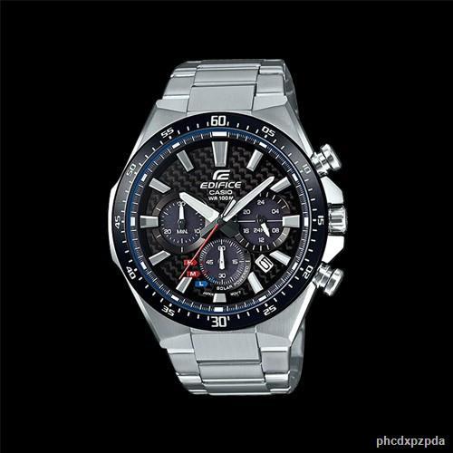 【การประกันคุณภาพ】▽▲CASIO EDIFICE SOLAR นาฬิกาข้อมือผู้ชาย สายสแตนเลส รุ่น EQS-800CDB-1AVUDF