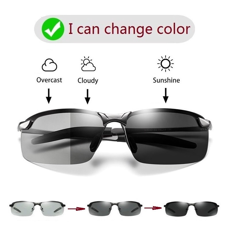 Photochromic Sunglasses Men Polarized Driving Chameleon Glasses Male Change