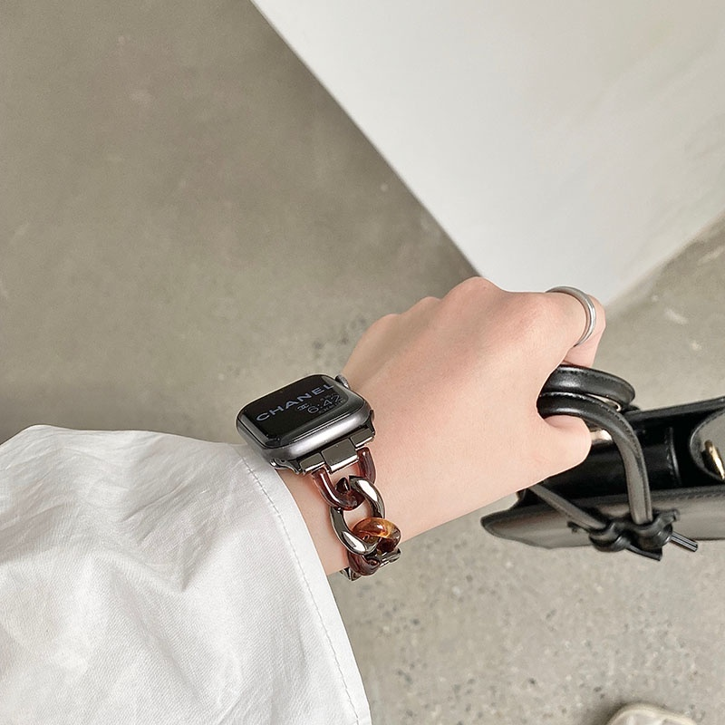 สายนาฬิกาข้อมือเรซิ่น Chanel's Style สําหรับ Applewatch