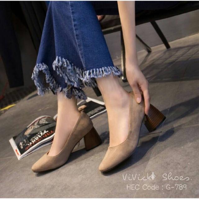 [ดำ/ครีม]💕 รองเท้าแฟชั่น รองเท้าผู้หญิง รองเท้าคัชชูวินเทจ สไตล์งานเกาหลี พร้อมส่ง!