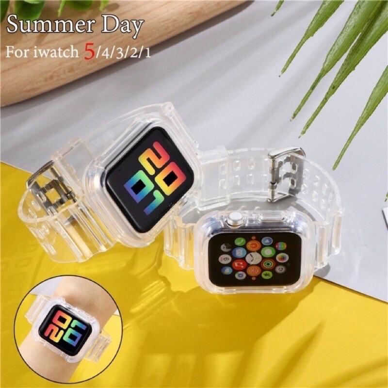 สายนาฬิกาข้อมือซิลิโคนแบบนุ่มสําหรับ applewatch 44mm 2in1 เคส AppleWatch สาย AppleWatch