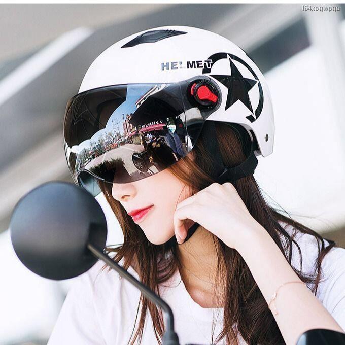 △☑☏> หมวกกันน็อคจักรยานไฟฟ้าหญิงครีมกันแดดแบตเตอรี่รถจักรยานยนต์ฤดูร้อนสำหรับผู้ชายแบบพกพาสี่ฤดู Harley หมวกนิรภัยครึ่
