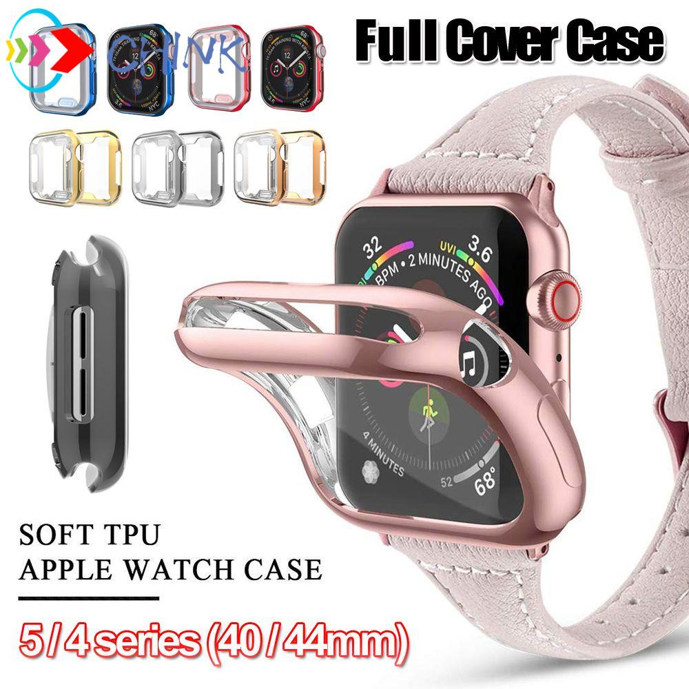 CHINK Ultra thin for Apple Watch 5 4 Clear Screen Protectors Electroplate TPU Case New Slim Soft Full Cover iWatch 40mm 44mm/Multicolor