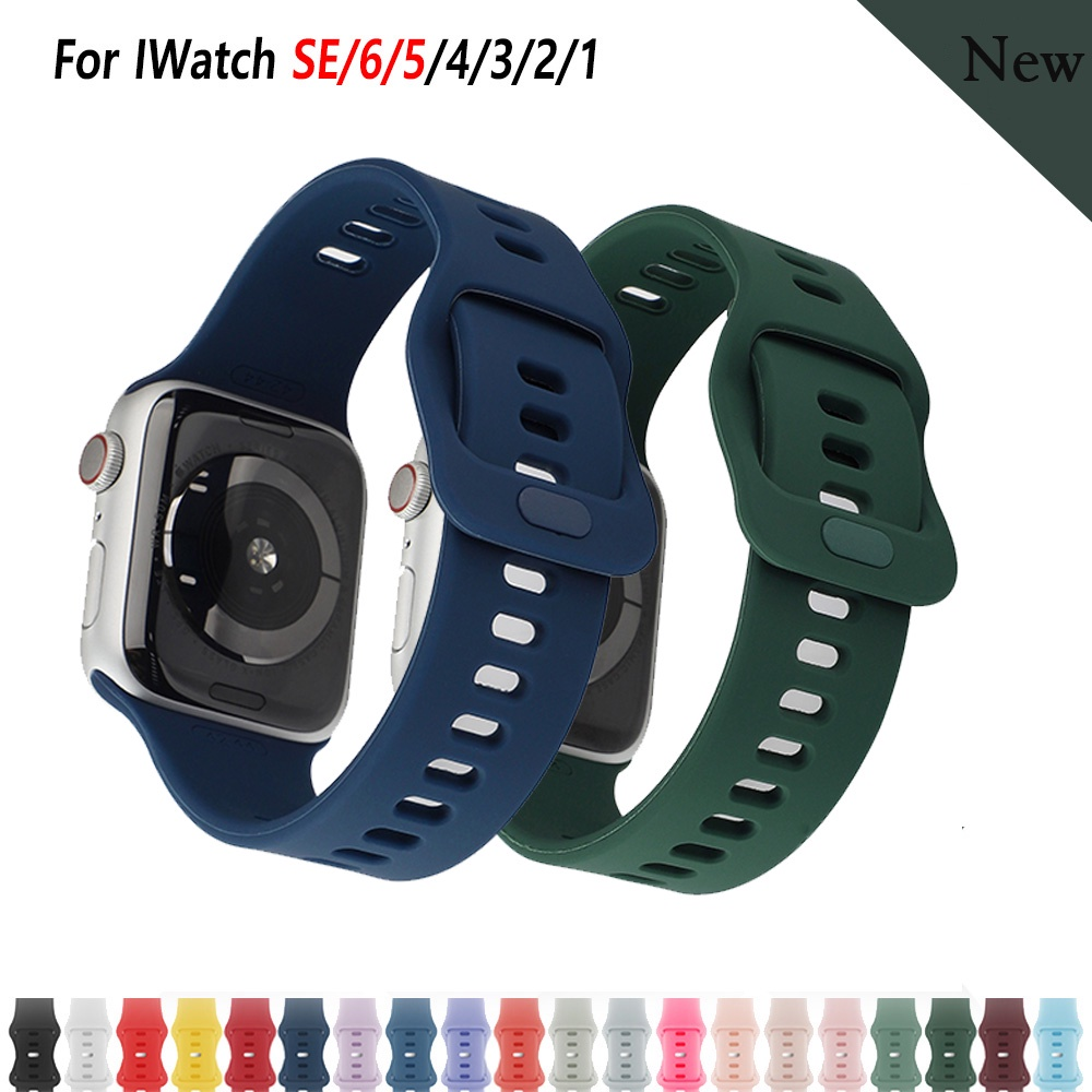 Sport For Apple Watch Se 6 5 Band 44mm 42mm Watchband Strap Bracelet iWatch Series 5 4 3 2 1 40mm 38mm Smart Watch T500 F10 F20 F8 FT50 FT30 T55 W26 W46 U78 PULS Silicone Strap