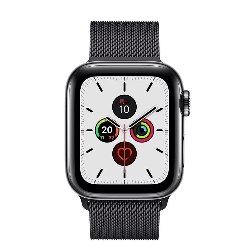 Apple Watch Series 5 ตัวเรือนสแตนเลสสีดำเข้มห้วงอวกาศเข็มขัดหนังสีดำของมิลาน
