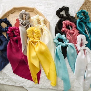 DIY Bow Streamers Hair Scrunchies Solid Color Silky Satin Horsetail Hair