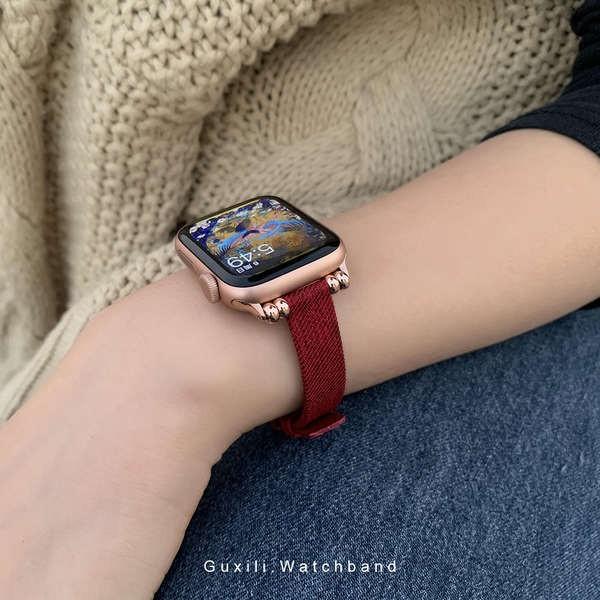 สาย applewatch เหมาะสำหรับ Apple Watch Applewatch ผ้าใบทออย่างดีสายบางเอวเล็ก iwatch123456 น้ำสาว se