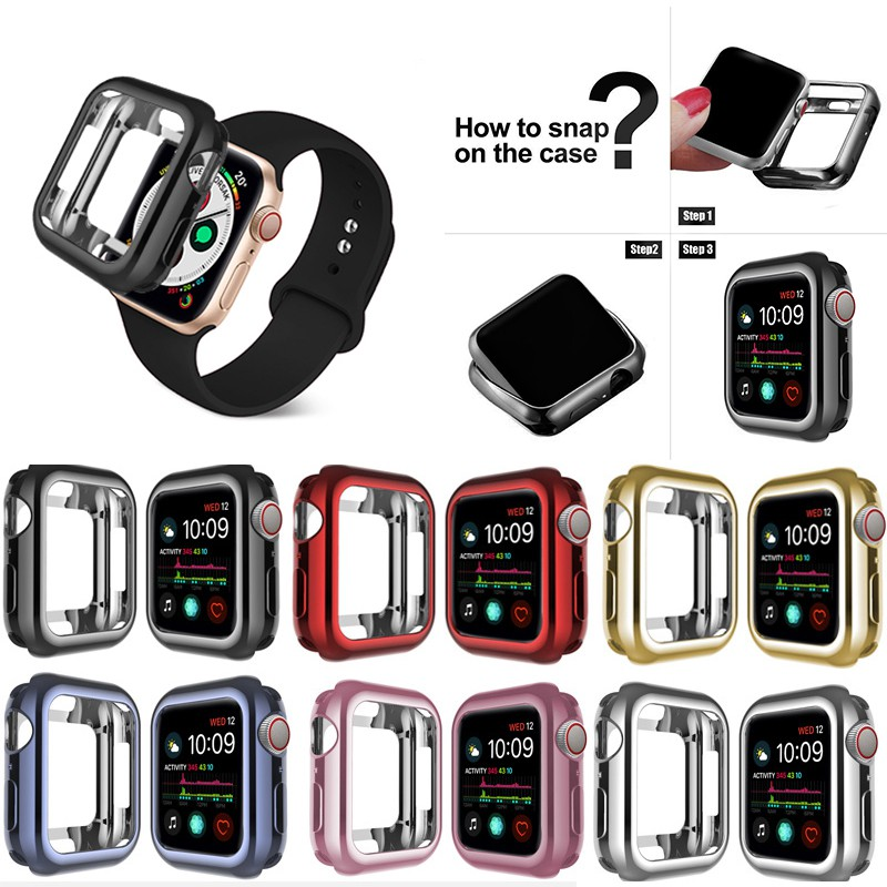 Case for Apple Watch 6/SE/5/4/3/2/1 38MM 40MM Plating Protective Soft TPU Case for iwatch Series 5 4 3 2 1 42MM 44MM band case
