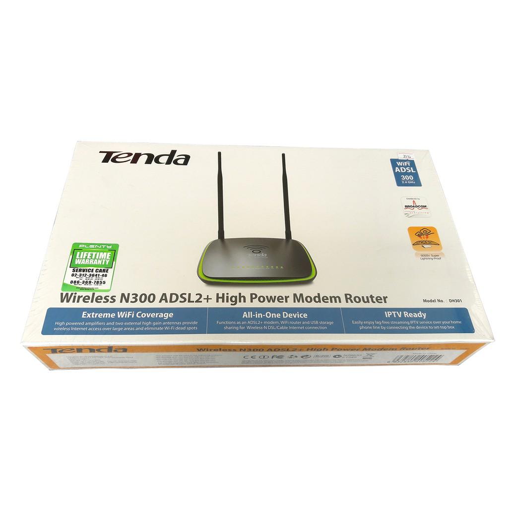 Tenda Wireless N300 ADSL2 Modem Router - DH301