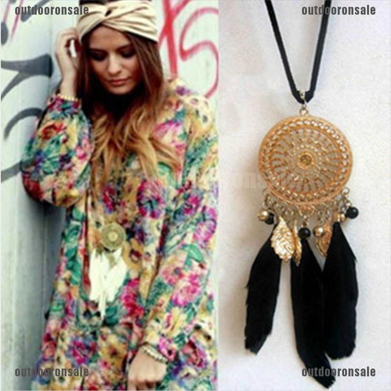 Vintage dream catcher style feather pendant necklace