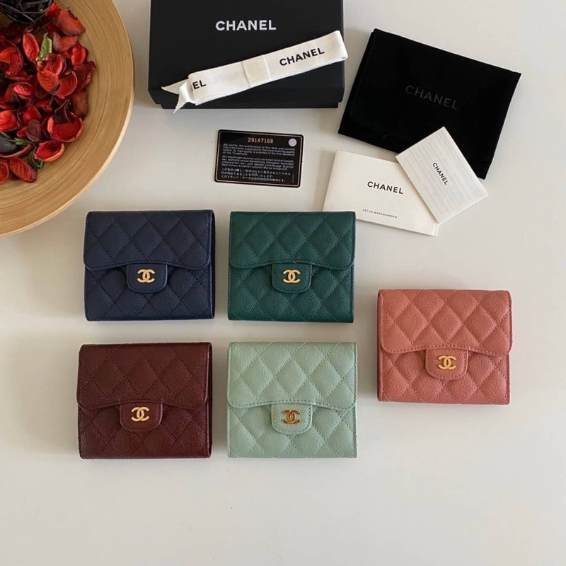 พร้อมส่ง Chanel Classic small wallet cavier skin Original