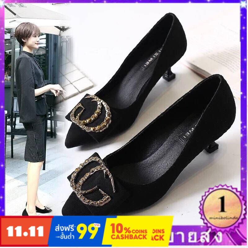 ⭐👠รองเท้าส้นสูง หัวแหลม ส้นเข็ม ใส่สบาย New Fshion รองเท้าคัชชูหัวแหลม  รองเท้าแฟชั่นรองเท้าส้นสูงรองเท้าหญิงสีดำ7cmรองเ