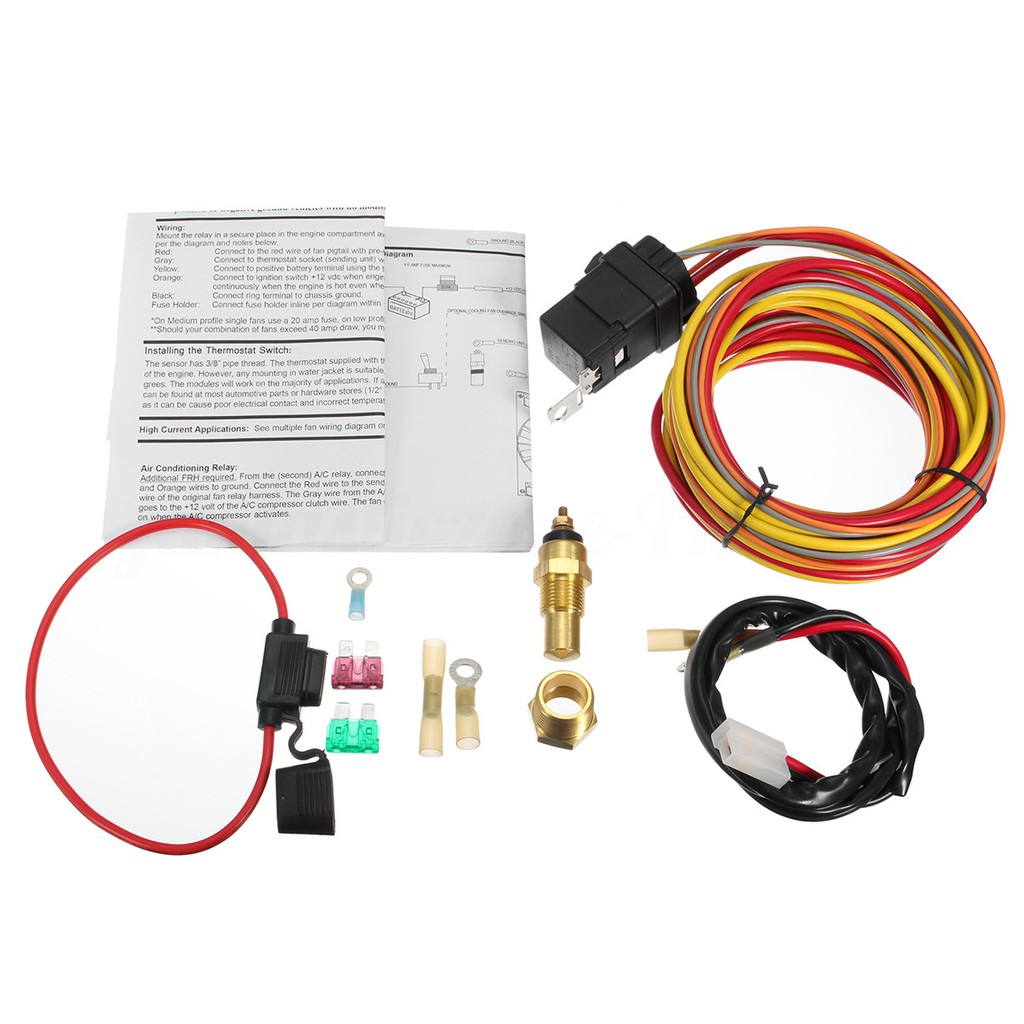 175185 Degree Engine Cooling Fan Thermostat Relay Kit Ft Shopee Hot Rod Ignition Wiring Diagram With Fuse Thailand