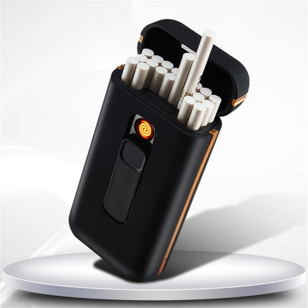 20pcs Capacity Cigarette Case Box with USB Electronic Lighter for Slim Cigarette Waterproof Cigarette Holder chargeable