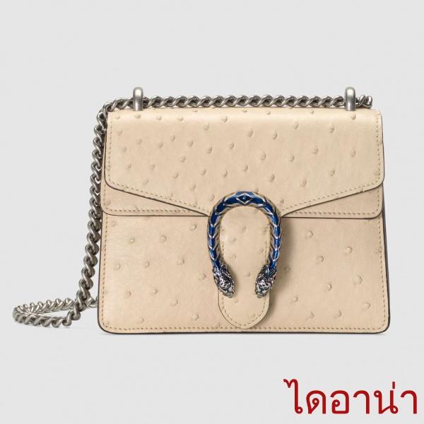 Gucci / ใหม่ / Dionysus Series กระเป๋าถือหนังนกกระจอกเทศ / กระเป๋าสะพายสุภาพสตรี / ของแท้ 100% / 20CM กระเปาเป
