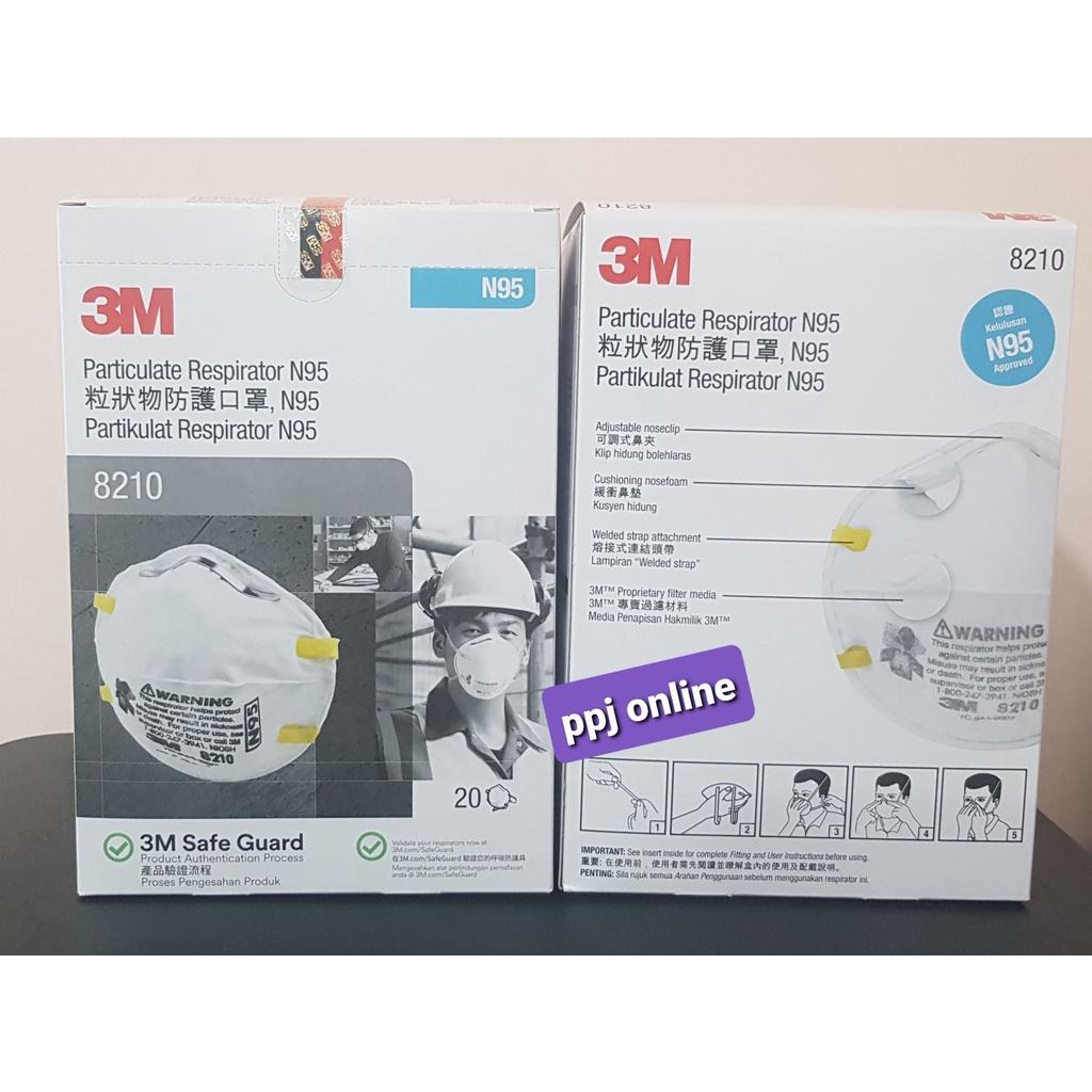 ✠❉۩【สินค้าคงคลัง 】 3M 8210  N95 หน้ากากป้องกันฝุ่น ละออง (20 ชิ้น/กล่อง) (ส่งฟรี)