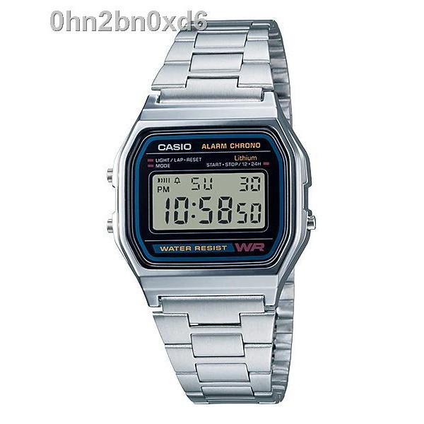 🔥hotsell🔥Casio นาฬิกาข้อมือผู้ชาย สายสแตนเลส รุ่น A158WA-1DF - สีเงิน