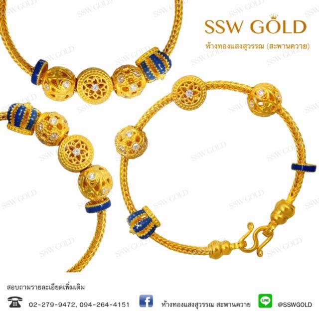 SSW GOLD สร้อยข้อมือทอง 96.5% น้ำหนัก 2 บาท ลายลูกปัดลงยา