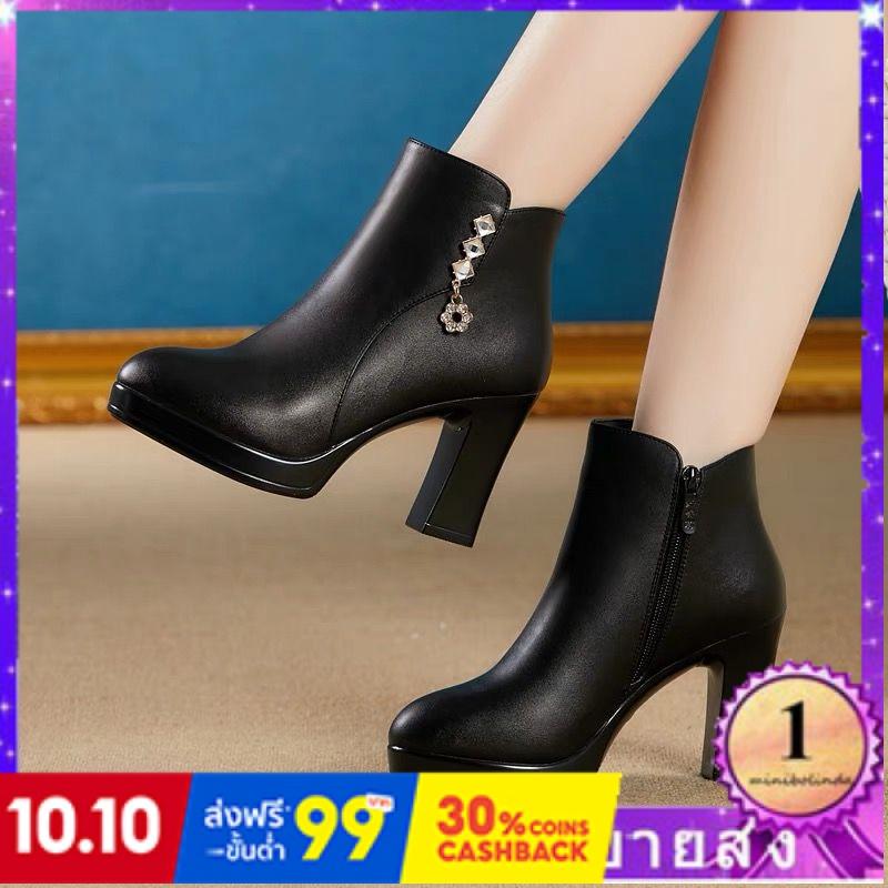 ⭐👠รองเท้าส้นสูง หัวแหลม ส้นเข็ม ใส่สบาย New Fshion รองเท้าคัชชูหัวแหลม  รองเท้าแฟชั่นรองเท้าผู้หญิงหนากับรองเท้าสั้นขนาด