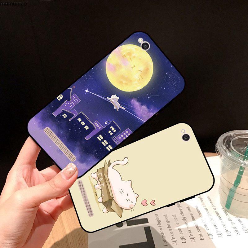 Samsung A3 A5 A6 A7 A8 A9 Pro Star Plus 2015 2016 2017 2018 Moon cat Silicon Case Cover