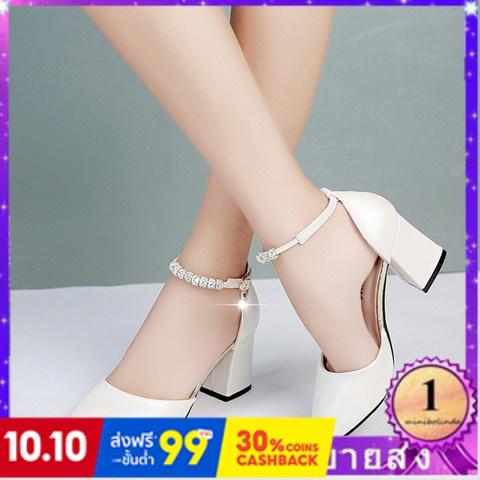 ⭐👠รองเท้าส้นสูง หัวแหลม ส้นเข็ม ใส่สบาย New Fshion รองเท้าคัชชูหัวแหลม  รองเท้าแฟชั่นรองเท้าแตะผู้หญิงใหม่ที่มีแฟชั่นเป่
