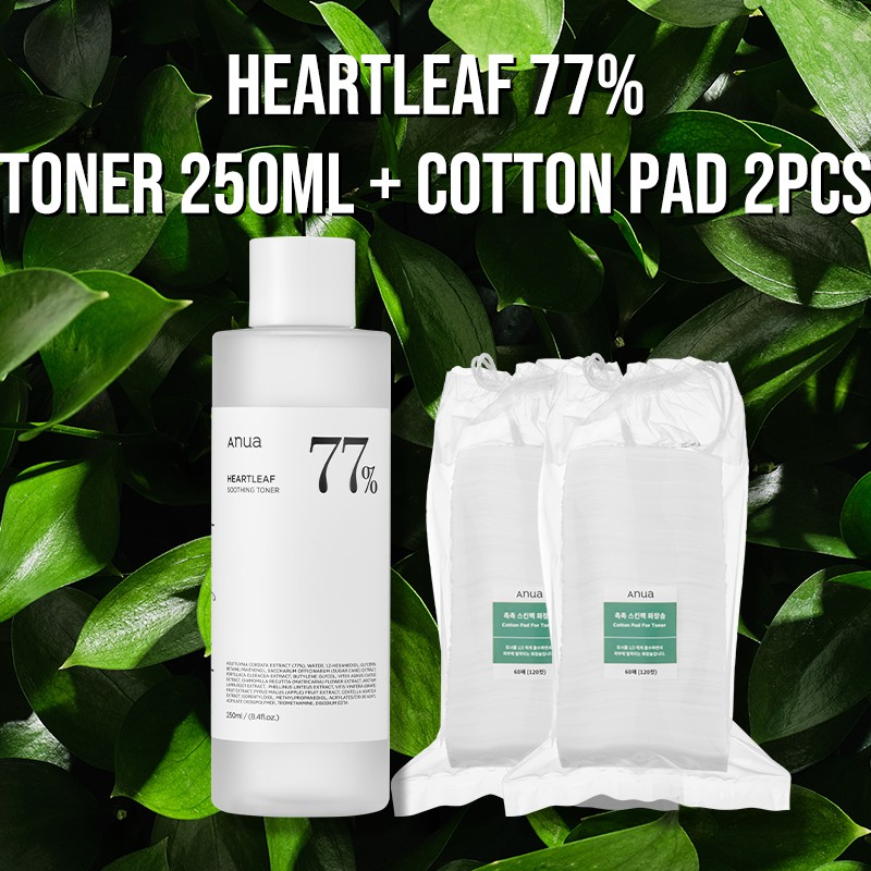 [ANUA] Heartleaf 77% Soothing Toner 250ml / Cotton Pad for Toner 60pads 2set