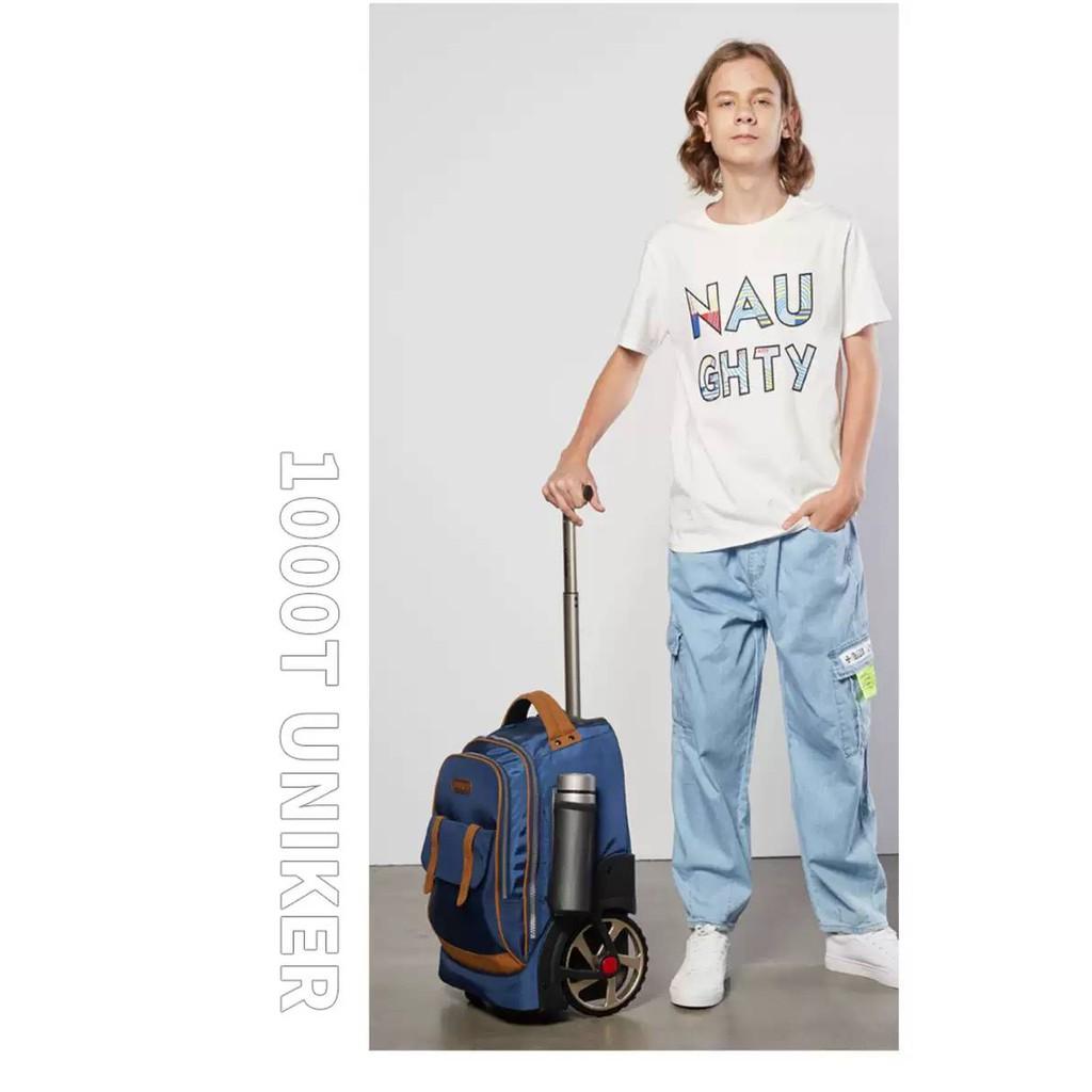 UNIKER กระเป๋านักเรียนล้อลาก 18นิ้ว (รุ่น Big Wheels) กระเป๋าเดินทางใบเล็ก ล้อลากใหญ่ ใส่ของได้เยอะ zIiH