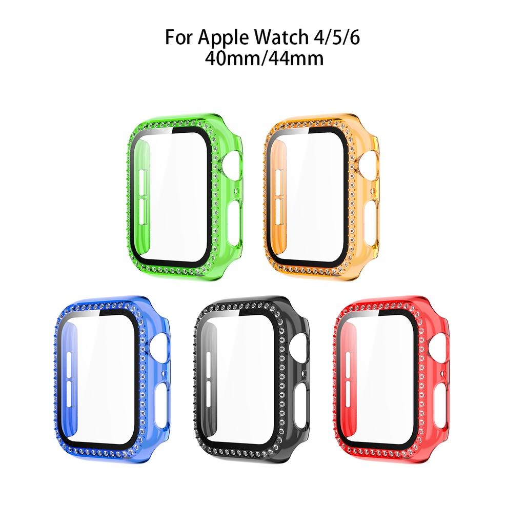 Diamond Case + กระจกนิรภัยปกป้องหน้าจอ 2 In 1 Apple Watch Case Bling Diamond Cover สีสันสดใสเคสป้องกันสำหรับ Apple Watch Iwatch Series 6/5/4/3/2/1, Apple Watch SE Applewatch Case