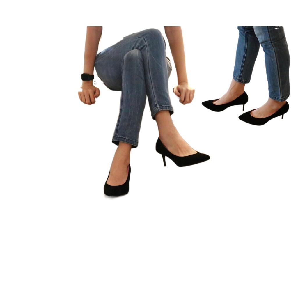 ⭐♚℡✴รองเท้า 9696 รองเท้าผู้หญิง รองเท้าคัชชู หัวแหลม ส้นสูง รองเท้าคัชชูสีดำ รองเท้าส้นสูง 2.5 นิ้ว FAIRY