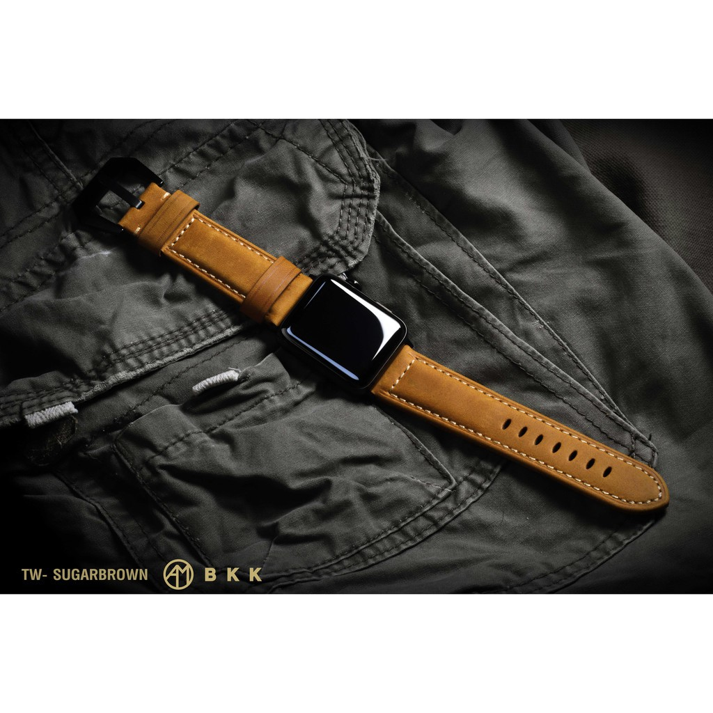 สาย applewatch แท้ สาย applewatch สายหนัง Apple Watch 42-44mm. (TW-SUGARBROWN)