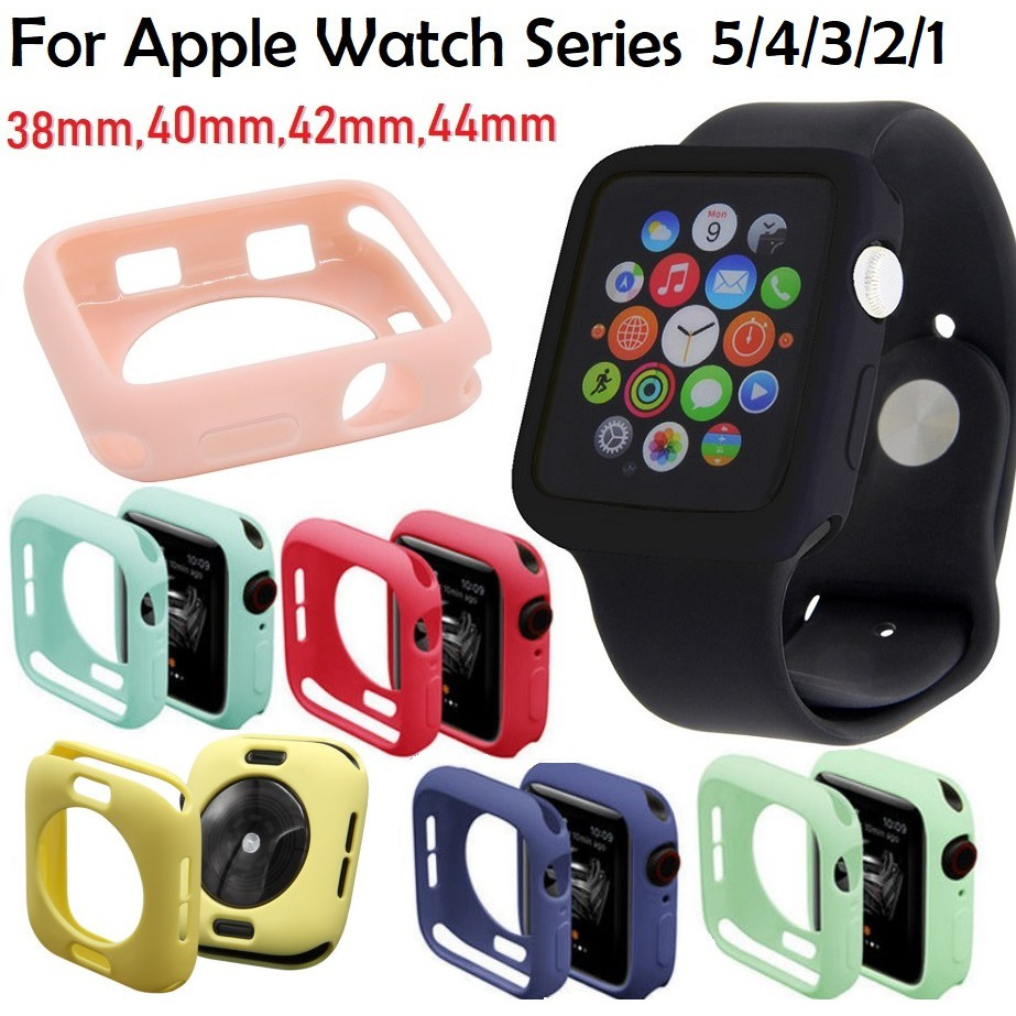 เตรียมตัว!! เคส Apple Watch กันกระแทก iWatch Series 6/5/4/3/2, Apple Watch SE Size 38mm 42mm 40mm 44mm Silicone Soft Protection Case Cover
