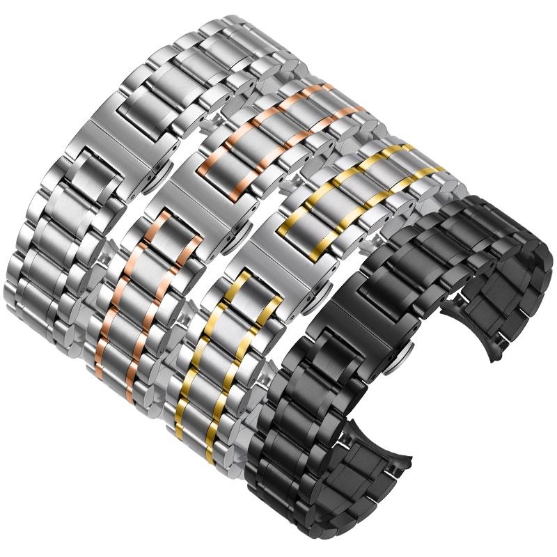 นาฬิกาสายเหล็กสำหรับผู้ชายและผู้หญิงนาฬิกาสแตนเลสที่มีโลหะ หัวเข็มขัดผีเสื้อแทน dw สร้อยข้อมือสแตนเลส Casio King Longine